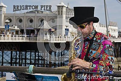 Music in the Brighton pier Editorial Stock Photo