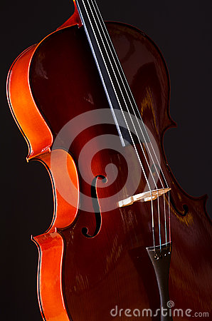 Music Cello in  dark room