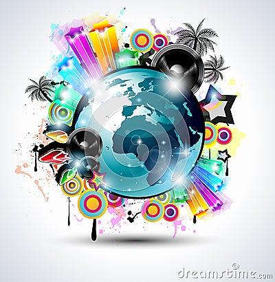 Music Club background for disco dance internationa