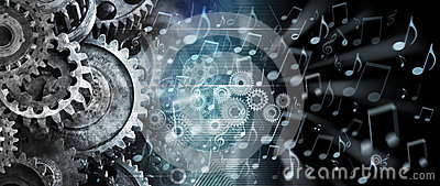 Music Streaming Cogs Technology Background Stock Photo