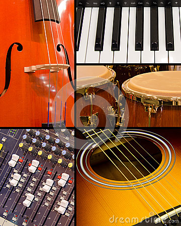 Music collage with instruments and sound board