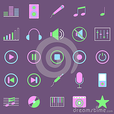 Music color icons on violet background