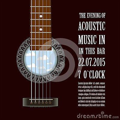 Free Music Concert Show Poster With Acoustic Guitar . Vector Stock Images - 59891924