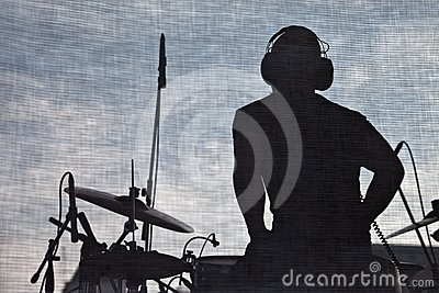 Music concert stage and musician silhouette