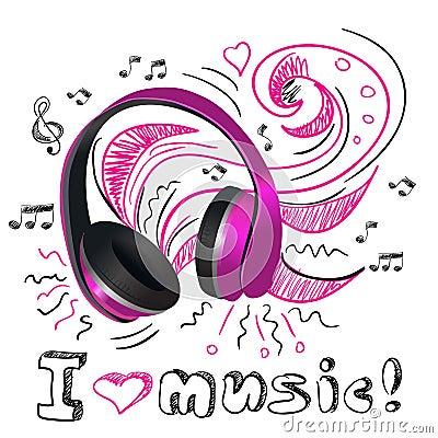 Music Doodle Headphones Stock Vector - Image: 40271136
