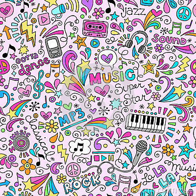 Music Doodles Groovy Seamless Pattern Background