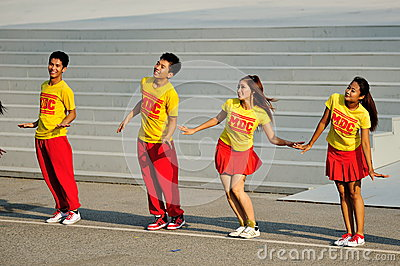 Music & Drama Company dance performance during NDP Editorial Stock Photo
