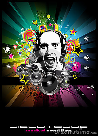Music Event Background With Disk Jockey Shape Stock Images - Image: 12990394
