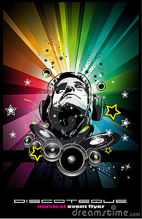 Music Event Background with Disk Jockey Shape f