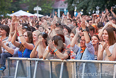 Music fans applaud at concert of Chaif rock-band Editorial Photography
