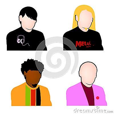 Music fans avatar set vector