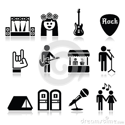 Free Music Festival, Live Concert Icons Set Royalty Free Stock Photos - 42132418