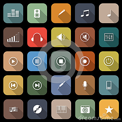 Music flat icons with long shadow
