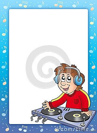 Music frame with cartoon DJ boy