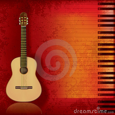 Free Music Grunge Background Acoustic Guitar And Piano Stock Image - 19842241