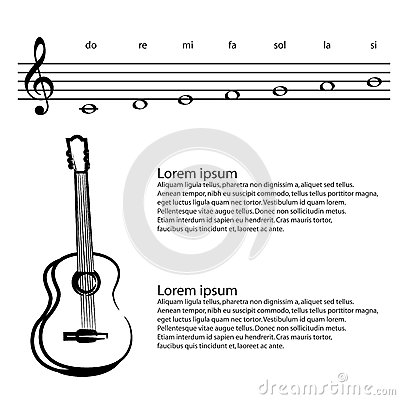 Music, Guitar, Abstract Treble Clef, Notes Vector Background Stock ...