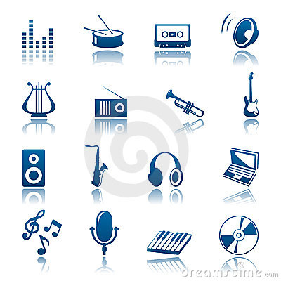 Music Icon Set Stock Image - Image: 14336411
