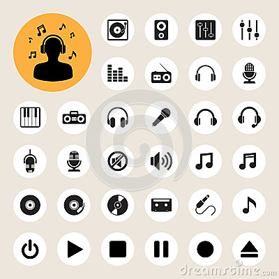 Free Music Icon Set Royalty Free Stock Photo - 33187545
