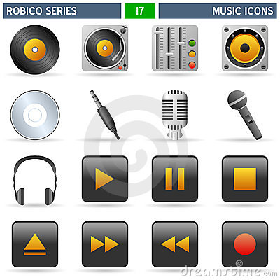 Free Music Icons - Robico Series Stock Images - 13821964