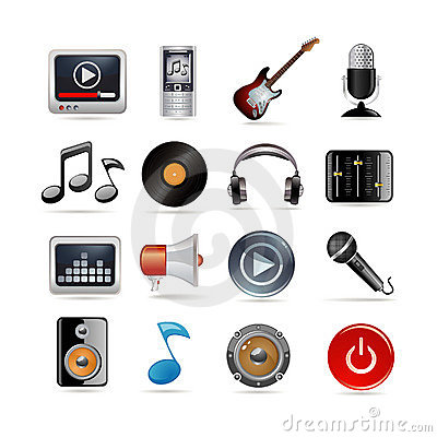 Free Music Icons Set Royalty Free Stock Images - 13776509