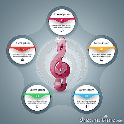 Music Infographic. Treble clef icon. Note icon. Vector Illustration