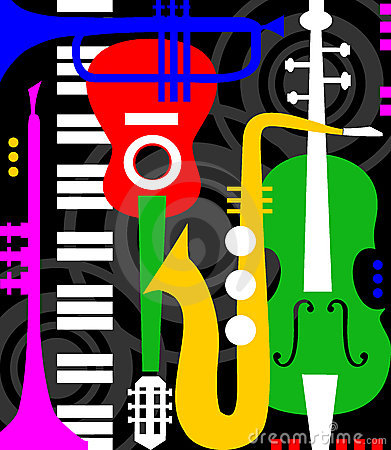 Music instruments on black