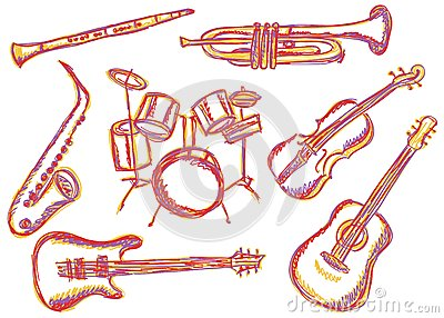 Music instruments doodles