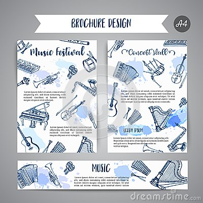 Free Music Instruments, Music Festival Brochure Jazz Flyer Design. Hand Drawn Drum, Piaono, Violin, Guitar And Saxophone On Royalty Free Stock Images - 113995889