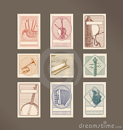 Music instruments stamps