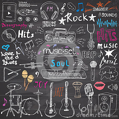 Free Music Items Doodle Icons Set. Hand Drawn Sketch With Notes, Instruments, Microphone, Guitar, Headphone, Drums, Music Player And Mu Royalty Free Stock Photo - 58165045