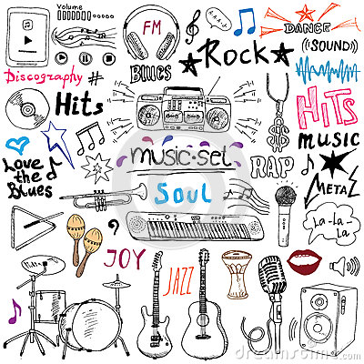 Free Music Items Doodle Icons Set. Hand Drawn Sketch With Notes, Instruments, Microphone, Guitar, Headphone, Drums, Music Player And Mu Stock Image - 58473951