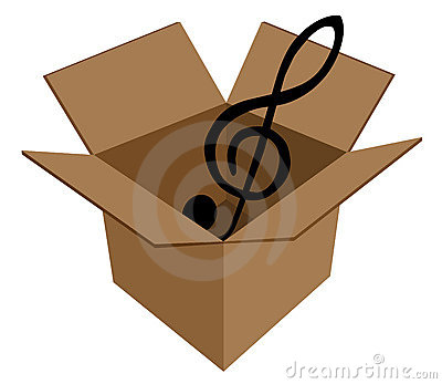 Music key in cardboard box