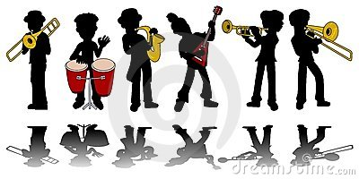 Music kids silhouettes collection