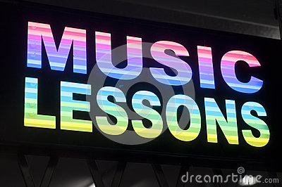 Music lessons sign