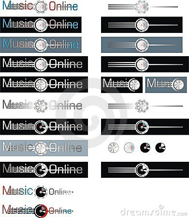 Set of music online labels