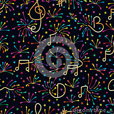 Free Music Note Firework Colorful Seamless Pattern Stock Photography - 96100112