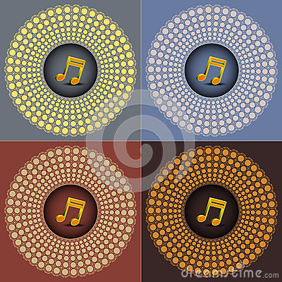 Music note on four diffrent