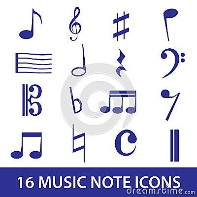 Music note icon set eps10