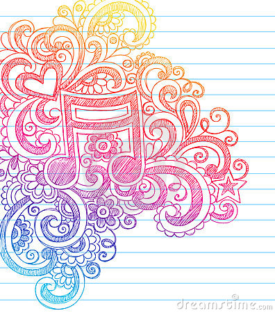 Music Note Sketchy Back to School Doodle Vector