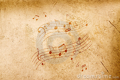 Music notes on antique background