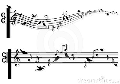 Music Notes With Birds, Vector Stock Photos - Image: 24359803