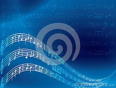 Music notes - blue abstract background - vector