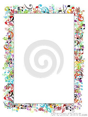 Music notes border Vector Illustration