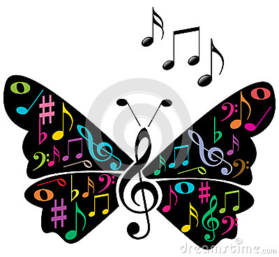 Music notes butterfly Vector Illustration