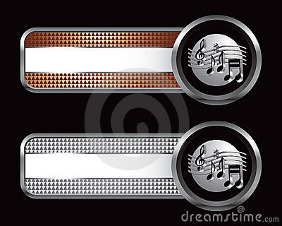 Music notes on checkered striped banners
