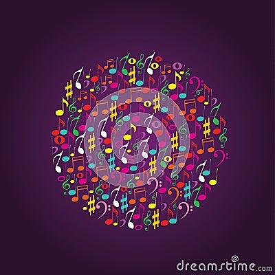 Music notes circle