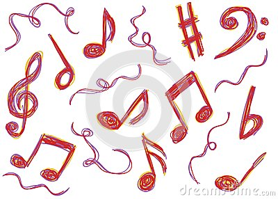Music notes doodles