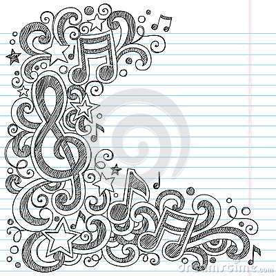 Music Notes and G Clef Sketchy Music Class Doodles