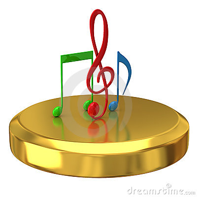 Music notes on gold podium