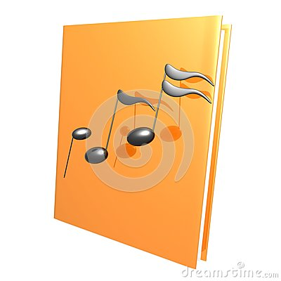 Music notes and golden book reference icon
